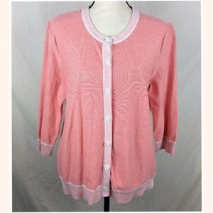 Eddie Bauer Coral Cardigan Sweater XL Button Up